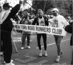 Grete Waitz and Fred Lebow finishing the 1992 New York Marathon
